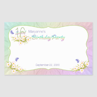 Sweet 16 Rainbow and Butterflies Birthday Party Rectangular Stickers