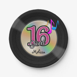 Sweet 16 Rock Music Party Personalized Paper Plate