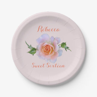 Sweet 16  Rose Birthday Paper Plate