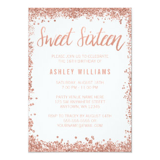 "Sweet 16 Rose Gold Faux Glitter Birthday Party 5"" X 7"" Invitation Card"