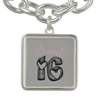 Sweet 16 Rustic Number Sixteen 16th Birthday Charm Bracelets