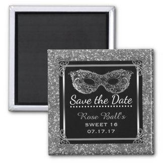Sweet 16 Save the Date 16th Birthday Glam Silver Magnet