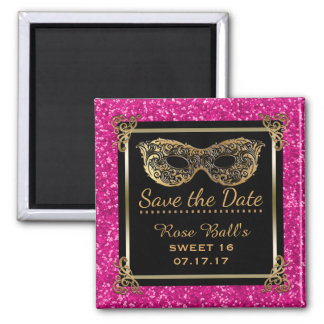 Sweet 16 Save the Date 16th Birthday Pink Gold Magnet