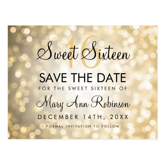 Sweet 16 Save The Date Gold Glitter Lights Postcard