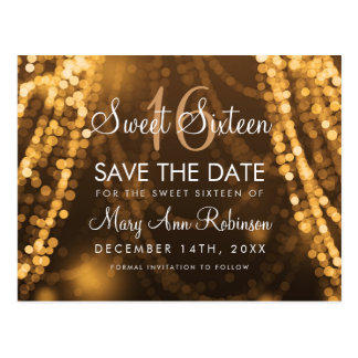 """Sweet 16 """"Save The Date"""" Gold String Lights Postcard"""