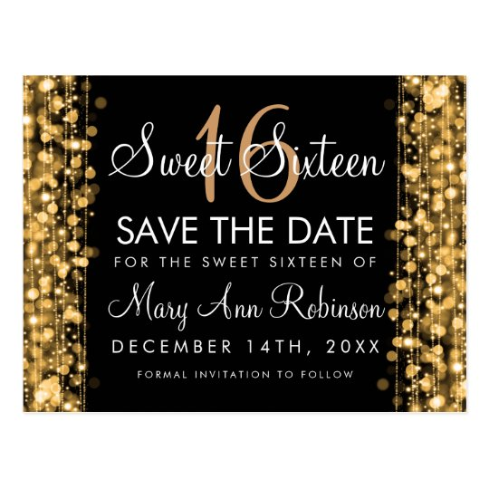 Sweet 16 Save The Date Party Sparkles Gold Postcard