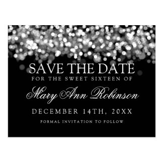 Sweet 16 Save The Date Shimmering Silver Lights Postcard