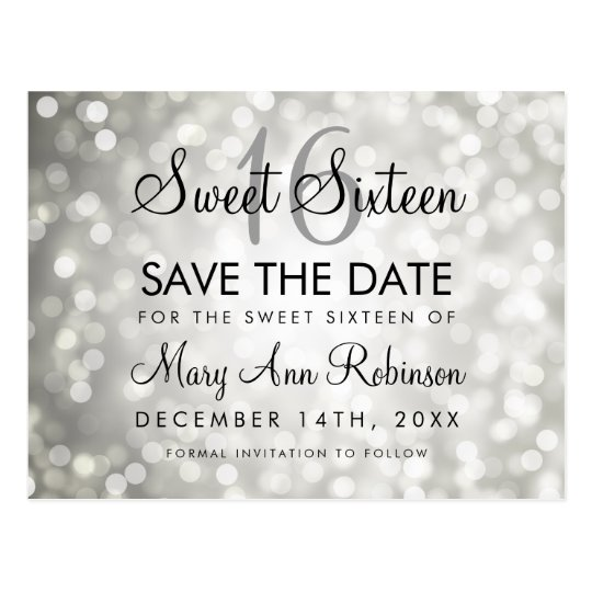 Sweet 16 Save The Date Silver Glitter Lights Postcard