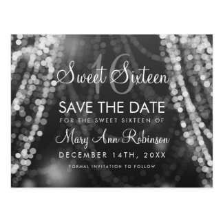 """Sweet 16 """"Save The Date"""" Silver String Lights Postcard"""