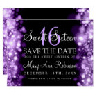 "Sweet 16 ""Save The Date"" Sparkling Lights Purple Card"