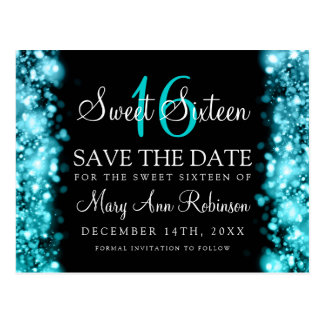 """Sweet 16 """"Save The Date"""" Sparkling Lights Turquois Postcard"""