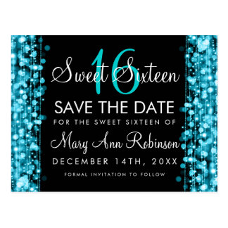 Sweet 16 Save The Date Turquoise Party Sparkles Postcard