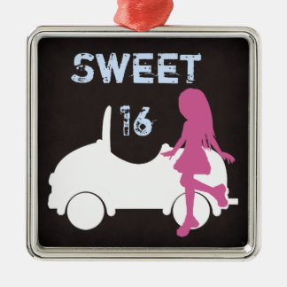 Sweet 16 Silhouette Girl and Car ~ Pink and Blue Silver-Colored Square Ornament