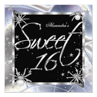 "Sweet 16 Silver Spiders 16th Birthday Party 5.25"" Square Invitation Card"