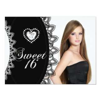 """Sweet 16 Sixteen Birthday Party Black White Lace 6.5"""" X 8.75"""" Invitation Card"""