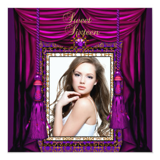 "Sweet 16 Sixteen Birthday Party Purple Pink Gold 5.25"" Square Invitation Card"