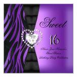 "Sweet 16 Sixteen Birthday Party Zebra Purple 5.25"" Square Invitation Card"