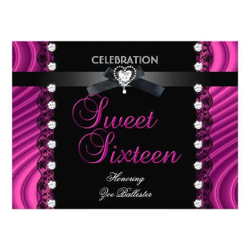Sweet 16 Sixteen Black Pink White Lace Personalized Invitation