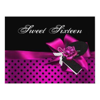 "Sweet 16 Sixteen Black Spot Pink Rose Bow 6.5"" X 8.75"" Invitation Card"