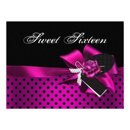 Sweet 16 Sixteen Black Spot Pink Rose Bow Invitations