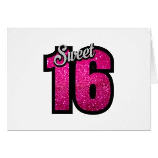Sweet 16 sixteen pink glitter birthday party girl card