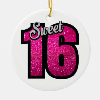 Sweet 16 sixteen pink glitter birthday party girl round ceramic ornament