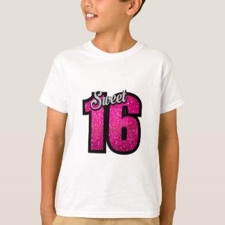 Sweet 16 sixteen pink glitter birthday party girl T-Shirt