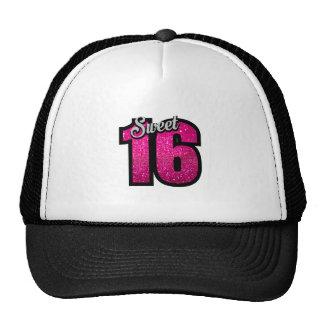 Sweet 16 sixteen pink glitter birthday party girl trucker hat