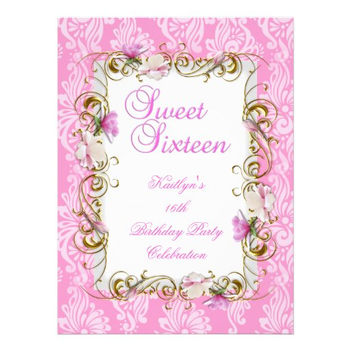Sweet 16 Sixteen Pink White Damask Gold Floral Announcement