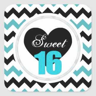 Sweet 16 Stickers: Blue and Black Chevron Print Square Sticker