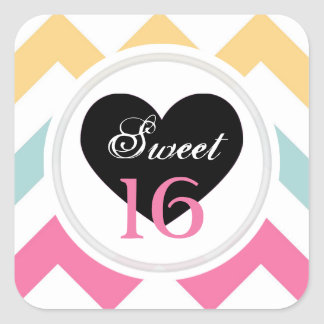Sweet 16 Stickers: Spring Pastel Chevron Print Square Sticker