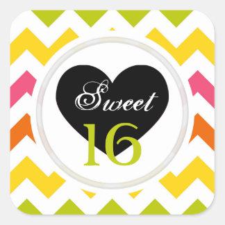 Sweet 16 Stickers: Summer Pastel Chevron Print Square Sticker