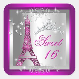 Sweet 16 Sweet Sixteen Pink Tiara Eiffel Tower Square Sticker