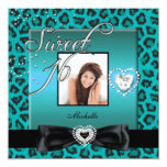 "Sweet 16 Sweet Sixteen Teal Black Leopard Photo 5.25"" Square Invitation Card"