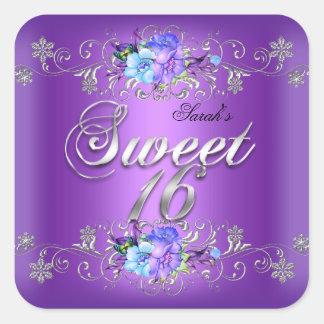 Sweet 16 Sweet Sixteen White Purple Flowers Square Sticker