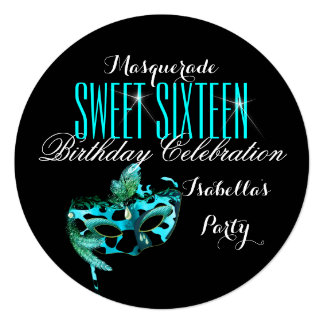 """Sweet 16 Teal Blue Mask Masquerade Birthday Party 5.25"""" Square Invitation Card"""