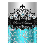 "Sweet 16 Teal Silver Black Floral Jewel Party 5"" X 7"" Invitation Card"