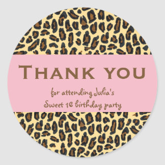 Sweet 16 Thank You Leopard on Pink Round Sticker