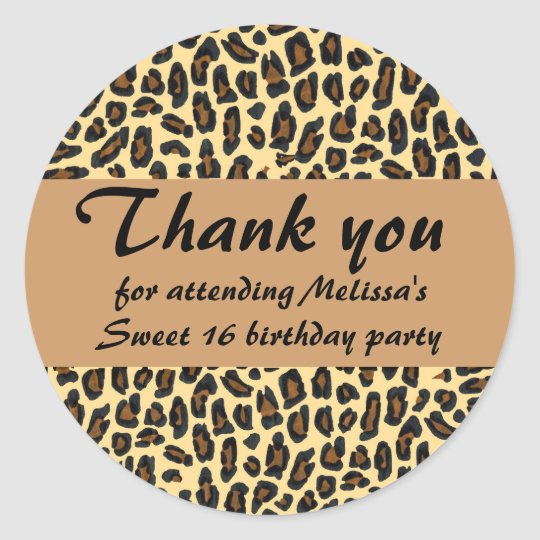 Sweet 16 Thank You Leopard print Classic Round Sticker