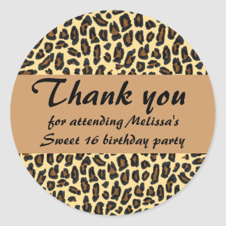 Sweet 16 Thank You Leopard print Round Sticker