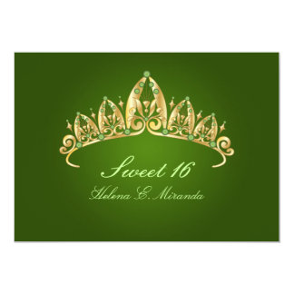 Sweet 16/ tiara/emerald invitations