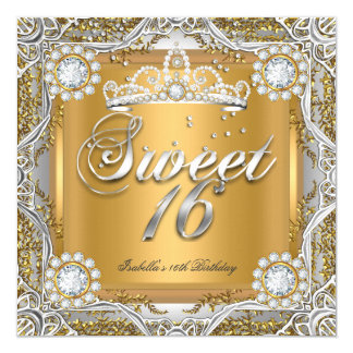 "Sweet 16 Tiara Gold Silver Diamond Birthday Party 5.25"" Square Invitation Card"