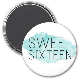 Sweet 16 Tiffany Blue Watercolor Magnet