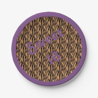 Sweet 16 Tiger Print w/ Purple Border Paper Plate