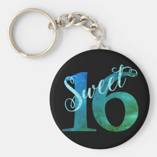 Sweet 16 Turquoise | Blue Green Watercolor Party Keychain