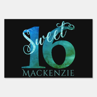 Sweet 16 Turquoise | Blue Green Watercolor Party Sign
