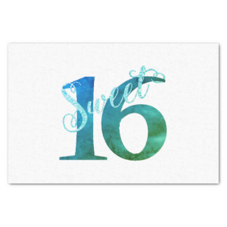 Sweet 16 Turquoise | Blue Green Watercolor Party Tissue Paper