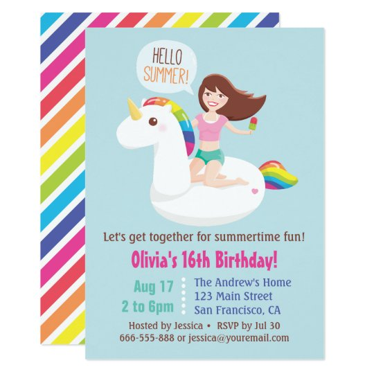sweet 16 unicorn pool float summer birthday party card zazzle ca