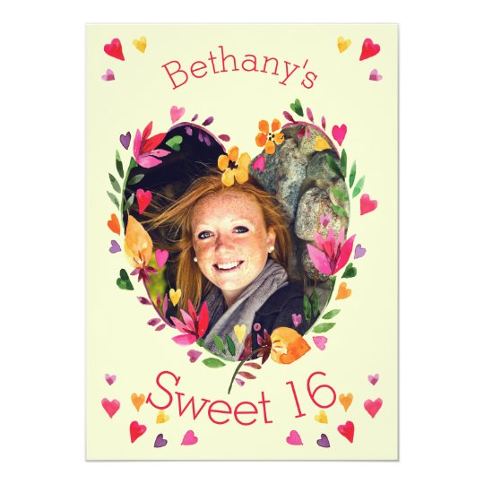 Sweet 16 Watercolor Floral Heart Wreath Photo Card