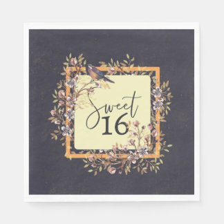Sweet 16 Watercolor wreath Paper Napkins